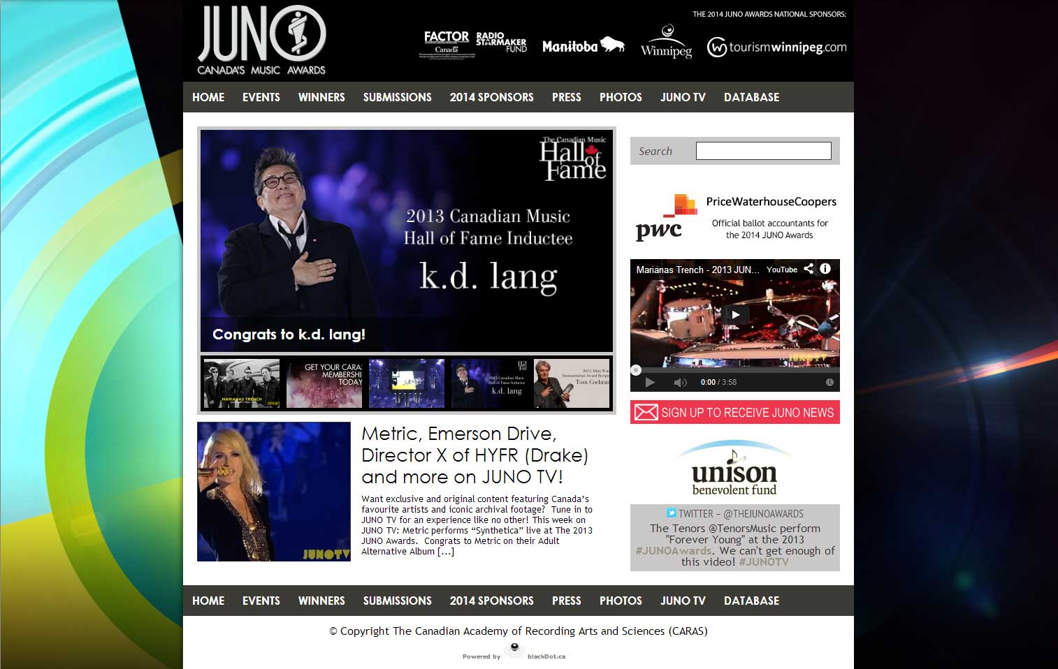 Web Development for JUNO AWARD