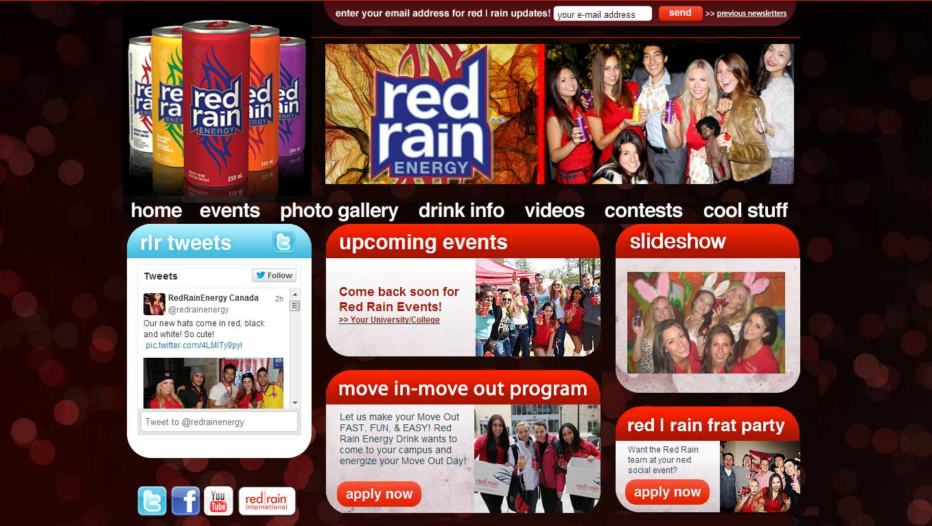 Web Design for Red Rain Energy Drink